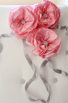 Flowers made from napkins- beautiful!  Tutorial with link~