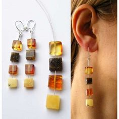 FREE Shipping, Amber earrings,  polished Stone,  mosaic, Silver 925, NEW, UNIQUE- Handmade von JewellryWithSoul auf Etsy