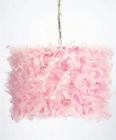 Pink Feather Drum Pendant Light