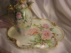 """Absolutely Breathtaking Bouquet of Pink Roses"" Antique Limoges French LARGE SERVING HANDLED TRAY Hand Painted Superb Roses ~ Heavy Gold ~ Victorian Heirloom French Tea Service Tray circa 1899"