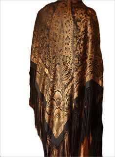 MAGNIFICENT Art Deco Silk Lame Shawl c1920's - Intricate Paisley Design