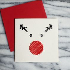 A little black and red thread makes a minimalist Christmas card extra cheerful. Christmas Card Crafts, Homemade Christmas Cards, Christmas Tag, Christmas Greeting Cards, Christmas Projects, Christmas Greetings, Homemade Cards, Handmade Christmas, Diy Holiday Cards