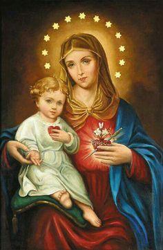 Imaculado Coração de Maria com o menino Jesus.