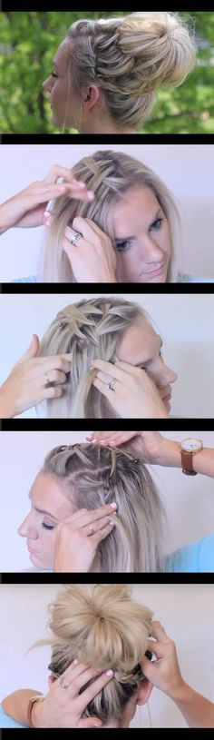 Best Hair Braiding Tutorials - Waterfall Bun Updo Cute Girls Hairstyles - Step By Step Easy Hair Braiding Tutorials For Long Hair, Pont Tails, Medium Hair, Short Hair, and For Women and Kids. Videos and Ideas for Dutch Braids, Messy Buns, Fishtail Braids, French Braids, Black Hair, Blondes, And Even For Headbands - https://www.thegoddess.com/best-hair-braiding-tutorials