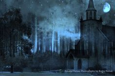 "Surreal Photography, Dreamy Blue Winter Night, Gothic Church In The Woods, Full Moon Stars, Haunting Winter Night Woodlands 8"" x 12"""