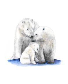 Polar Bear Art Giclee Print Kids Wall Art Polar by TinyToesDesign