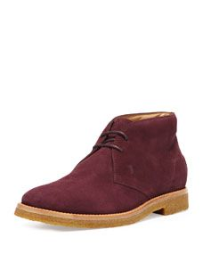 Tods Suede Two-Eye Chukka Boot, Burgundy #groom #groomstyle #forthegroom #forthebride #wedding #suede #chukkaboot #boot #shoes #burgundy