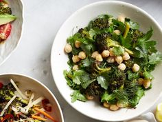 Herbed Chickpea-Broccoli Salad with Tahini-Lemon Dressing