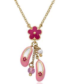 Look what I found on #zulily! Gold & Hot Pink Daisy Ballet Shoe Pendant Necklace by Little Miss Twin Stars #zulilyfinds