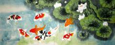Original Chinese Painting Feng Shui Art-Nine Koi Fish&Fragrant Lotus 011-3-3-8