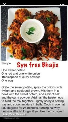 Syn free sweet potato and onion bhajis easy slimming world recipes, slimming world curry, Slimming World Curry, Slimming World Tips, Slimming World Dinners, Slimming World Recipes Syn Free, Slimming Eats, Indian Food Recipes, Diet Recipes, Cooking Recipes, Healthy Recipes