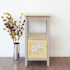 Tall Yellow Decoupaged Table / Cupboard - Shabby Chic Vintage Upcycled