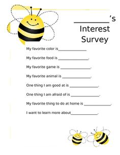Student Interest Survey by Michele Cespedes Student Interest Survey, Things To Do At Home, Bee Theme, New Students, Getting To Know You, Teacher Pay Teachers, Knowing You, Teaching, Freshman Year