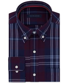 Tommy Hilfiger Men's Classic/Regular Fit Purple Check Dress Shirt