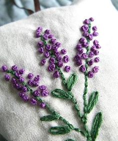 Lavender Sachet Hand Embroidered Flowers by allisajacobs on Etsy Mais French Knot Embroidery, Silk Ribbon Embroidery, Embroidery Art, Cross Stitch Embroidery, Embroidery Patterns, Japanese Embroidery, Art Patterns, Flower Embroidery, Lavender Sachets