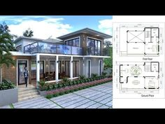 Sketchup Drawing Villa Design Size This villa is modeling by SAM-ARCHITECT With 2 stories level. It's has 2 bedrooms. 2 Bedroom House description: The House has -Car Parking small garden access to kitchen -Living room, -Dining room, Villa Design, Home Map Design, Home Building Design, Home Design Plans, House Design, 2 Bedroom House Plans, Duplex House Plans, Small House Floor Plans, Modern House Plans