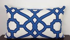 Striking Fretwork, Lattice Navy, Ocean Blue and White 12x20 Lumbar Indoor/Outdoor Decorative Throw Pillow Cover, Accent Pillow