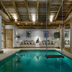 indoor pool with swing