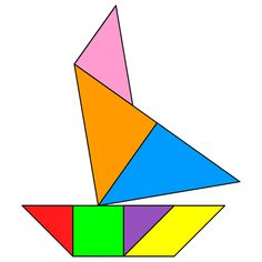 Tangram Norfolk wherry - Tangram solution - Providing teachers and pupils with tangram puzzle activities Montessori Activities, Preschool Math, Fun Math, Teaching Math, Activities For Kids, Kindergarten, Tracing Shapes, Transportation Activities, Tangram Puzzles