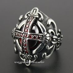 Cheap ring yarn, Buy Quality steel tongue rings directly from China steel lantern Suppliers: Goth Big Red CZ Cross 316L Stainless Steel Gothic Punk Rock Mens Ring 3N002
