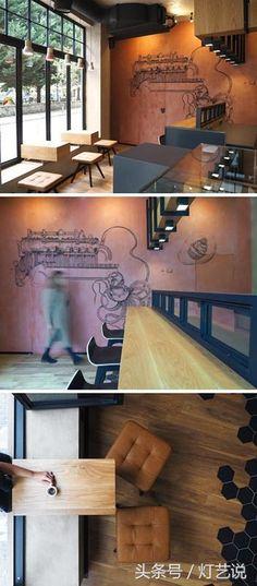 開在鬧市的咖啡館通常面積都不大,在有限的空間裡如何表達咖啡館自身的氣質和個性呢?毫無疑問,在室內設計師的手中,圖案設計和燈光搭配是很有效的工具。這間三十多平方的小咖啡店,就在這兩個方面做的很出彩。