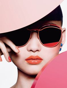 Cong He photographed by Richard Burbridge in pop art inspired looks from Dior's  cosmetic Milky Dots' collection for Dior magazine, May 2016. Makeup by Peter Philips.