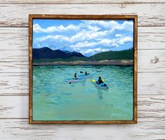 Excited to share the latest addition to my shop: Kayaking at kook painting print Lds Art, Nightlights, Canadian Rockies, Light And Shadow, My Happy Place, Wood Paneling, Painting Prints, Kayaking, Stained Glass