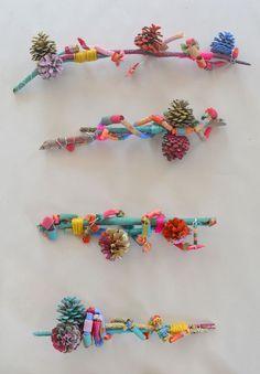 Winter Preschool Nature Art Activities: Pinecone Pasta Wire Art Assemblages