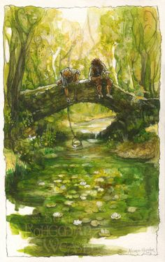 'I think in his heart Frodo is still in love with the Shire: the woods, the fields, the little rivers.' Art by Bohemian Weasel via Etsy.