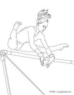 Coloring Pages UNEVEN Bars Artistic Gymnastics - Olympic Gymnastics Sports Coloring Pages, Coloring Pages For Girls, Coloring Pages To Print, Coloring Book Pages, Printable Coloring Pages, Preschool Gymnastics, Gymnastics Party, Olympic Gymnastics, Gymnastics Coaching