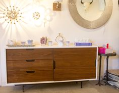 Grained Walnut and White Lacquer Console Table - Great for an entertainment center or dining room hutch!