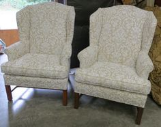 great neutral pattern for chairs...Pair of Flocked Linen Wing Back Chairs  Totally by WydevenDesigns