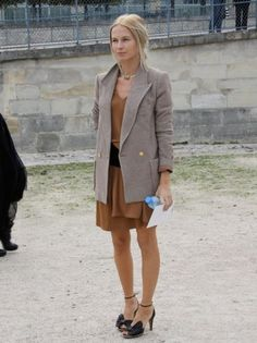Grey Blazer Coat and Tan Dress