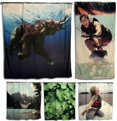 A company that will turn your photo(s) into a shower curtain.  I see a revised Hawaiian bathroom theme in the near future!
