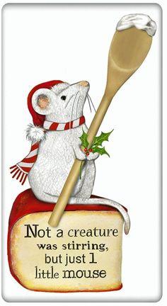 Christmas Mouse 100% Cotton Flour Sack Dish Towel Tea Towel