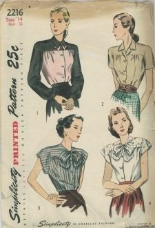 An original ca. 1940's Simplicity Pattern 2216.  The front-buttoning blouse is fitted with tucks at the waistline.  A shoulder yoke, cut in one with the sleeves, releases soft front fullness.  The blouse may be finished with a notched collar or a soft bow at the neck, and the sleeves may be bishop, short or cap.  in Styles I and IV contrast is used for yoke and sleeves.