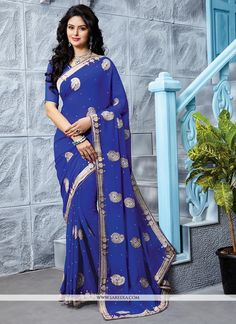 Buy latest saree from our different range of sarees online. Grab this georgette blue designer saree - Latest Sarees, Sarees Online, Diabetic Recipes, Dressing, Sari, Blouse, Healthy, Model