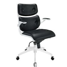 Modway Push Mid-Back Desk Chair Upholstery: Black Luxury Office Chairs, Office Chairs Online, Best Office Chair, Black Office Chair, Luxury Chairs, White Office, Small Office, Office Desk, Cool Desk Chairs