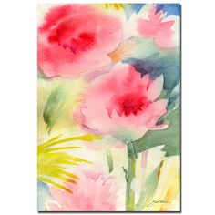 Pink Flowers - watercolor by Sheila Golden Painting Print on Wrapped Canvas