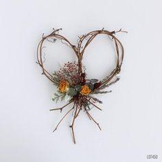 Wildflower Heart Wreath, Grapevine Wreath with Dried Flowers, Heart Shaped Decoration, Bohemian Rust. Twig Crafts, Magic Crafts, Heart Wreath, Grapevine Wreath, Heart Shaped Wreath, Dried Flower Wreaths, Dried Flowers, Dried Flower Arrangements, Autumn Wreaths
