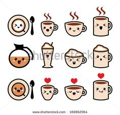 Cute coffee, cappuccino and espresso kawaii icon set - vector by RedKoala, via Shutterstock