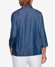 c018cdec0e286 Alfred Dunner Greenwich Hills Embellished Layered Top - Blue 8