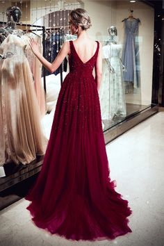 Vintage Burgundy Sequins Prom Dresses 2019 Long V-Neck Beadings Evening Gowns Item Code: Gorgeous Prom Dresses, Sequin Prom Dresses, A Line Prom Dresses, Prom Party Dresses, Pageant Dresses, Wedding Dresses, Pretty Dresses, Bridesmaid Dresses, Designer Formal Dresses