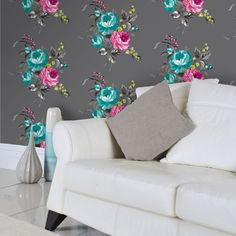 Buy Arabella Graphite Wallpaper by Holden Decor at The Range Grey Wallpaper, Print Wallpaper, Pink Bouquet, Floral Bouquets, Bright Decor, Eclectic Design, Decorating Small Spaces, Paint Designs, Lamp Design