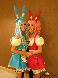 #cosplay Plusle and Minun Pokemon Cosplay by Rose and Kitty from Aurum Cosplay.