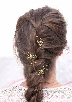 Cheveux de mariage Pins étoile fleur et Champagne cheveux mariée perle Pin Set, laiton fleur Bobbie épingle cheveux bijoux perlés bandeau