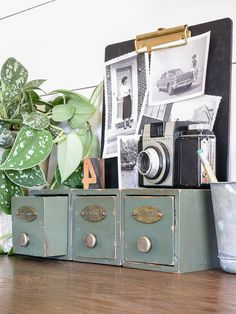 An easy way to give new and inexpensive wood storage drawers a vintage industrial look using paint and stain. #paintedfurniture