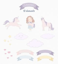 Cute Funny Unicorn Illustration Set $8 by Moving Parallels on @creativemarket kit 20 sweet vector, fantasy drawing elements made in kids sketch style, looks magic and cool. Bundle: girl character hugging small pink baby unicorn, 2 royal animals flying free. clipart pics pack for cards, prints, posters with quotes, patterns, children books, birthday events, wallpaper design images or backgrounds and artworks for sale or make them black and white and use for coloring book pictures or pages.