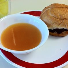 Clear tomato soup & garlic herb cheeseburger with appropriate sacrifice to the Food Gods #larryskitchen #blood