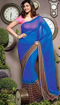 Get Beautiful Fashionable Latest Royal Blue Georgette #CasualSaree Online   #Price INR- 2656 Link- http://alturl.com/jm5ej